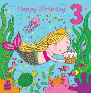 LIL3 - Age 3 Girls Birthday Card Mermaid